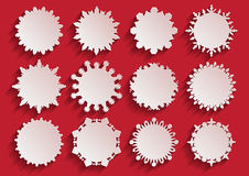 White Paper 3d Snowflake Frames. On a Red Background. Vector illustration Stock Images