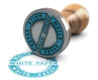 White Paper Document, Rubber Stamp Over White Background stock photography