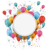White Paper Emblem Balloons Confetti Stock Photos