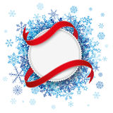 White Paper Emblem Flag Blue Snowflakes Royalty Free Stock Photos