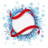 White Paper Emblem Flag Blue Snowflakes Royalty Free Stock Photos