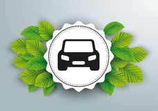White Paper Emblem Green Leaves Car. Infographic design with emblem, car and green eco leaves on the gray background Stock Image