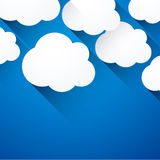 White paper flat clouds. Vector abstract background composed of white flat paper clouds over blue. Eps10 Stock Illustration