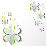 White Paper Flower in Green background Card Design. White Paper Flower on Green background Card Design stock illustration