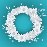 White paper flowers floral background Stock Photos