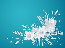 White paper flowers floral background Royalty Free Stock Image