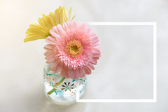 White paper frame with daisy-gerbera in glass vase. Creative frame layout for advertising card or invitation Stock Photo