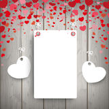 White Paper Frame 2 Hearts Wood Royalty Free Stock Photos