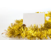 White paper frame at marble Table with bokeh golden Royalty Free Stock Photography