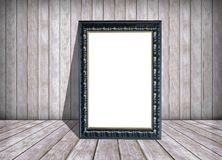 White paper in frame and old wooden wall, texture and background Stock Photography