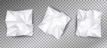 White Crumpled paper set template Royalty Free Stock Image