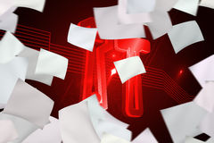 White paper in front of background with red tools Royalty Free Stock Photo