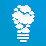 White paper gear cloud. vector. Abstract speech bubbles in the shape of clouds used in a social networks on light blue background Stock Photography