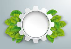 White Paper Gear Wheel Green Beech Leaves. Infographic design with gear wheel and green eco leaves on the gray background Stock Image