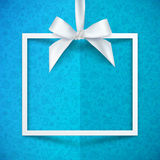 White paper gift box frame with silky bow  Royalty Free Stock Images