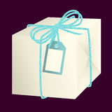 White paper gift box tied with a bow. White paper gift box tied with light blue linen string, double bow and label  illustration Stock Photos