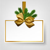 White paper gift card with golden satin bows. Royalty Free Stock Photography