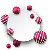 White paper gift card with magenta balls. Royalty Free Stock Photography