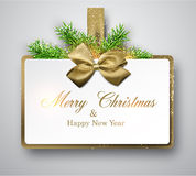 White paper gift card with spruce twigs. Royalty Free Stock Photos