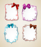 White paper gift cards with color satin bows. Winter gift cards with color ribbons and satin bows. Vector illustration Stock Photography