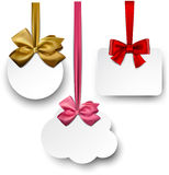 White paper gift cards with satin bows. Gift cards with ribbons and satin bows. Vector illustration Stock Photography