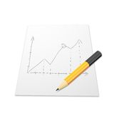 White paper with graph and pencil. White paper with graph, pencil orange color Royalty Free Stock Photos