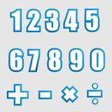 White paper graphic alphabet numbers on blue Royalty Free Stock Image