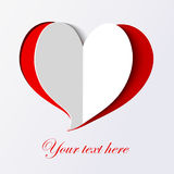 White paper heart icon on red background. Stock Photography