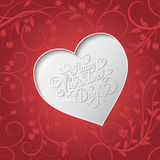 White paper heart Valentines day card with sign Happy Valentines day on seamless floral background Royalty Free Stock Photography