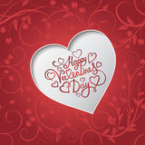 White paper heart Valentines day card with sign Happy Valentines day on seamless floral background Stock Photography