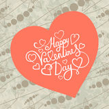 White paper heart Valentines day card with sign Happy Valentines day on seamless floral background Stock Image
