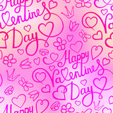 White paper heart Valentines day card with sign Happy Valentines day on seamless floral background Stock Photo