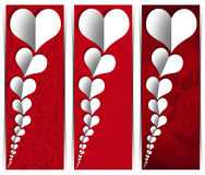 White Paper Hearts - Three Banners Royalty Free Stock Image