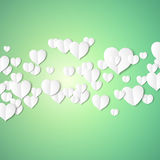 White paper hearts, Valentines day card on emerald background, vector illustration Stock Photo