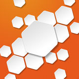White Paper Hexagon Labels Orange Stripes Backgrou Stock Photography