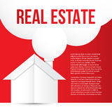 White paper house on red background. The smoke from the chimney as speech bubble. Concept for corporate identity or web banner. Mi Stock Photo