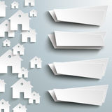 White Paper Houses Side Background 4 Banners Royalty Free Stock Image