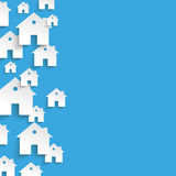 White Paper Houses Side Blue Background Stock Images