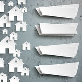 White Paper Houses Side Concrete 4 Banners. Infographic with white house shapes and 4 banners on the concrete background Stock Photo