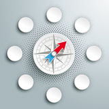 White Paper Infographic Compass Halftone 6 Options Stock Photo