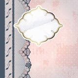White paper label with charcoal lace Royalty Free Stock Photo