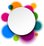 White paper label over colorful bubbles. Royalty Free Stock Images