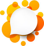 White paper label over orange bubbles. Royalty Free Stock Photography