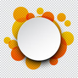 White paper label over orange bubbles Royalty Free Stock Images