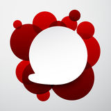 White paper label over red bubbles. Stock Images