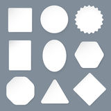 White paper labels on a gray background. Vector illustration in Stock Image