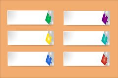 White paper labels with puzzle decor on the orange background Stock Images