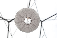 White paper lantern underneath. White paper lantern. Unusual perspective beneath light. Abstract minimalism background royalty free stock photos