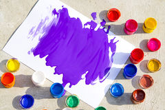 White paper with a large purple splashes, gouache paint Royalty Free Stock Photography