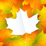 White paper leaf on autumn foliage vector Royalty Free Stock Images